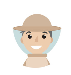 beekeeper man icon flat style character isolated vector image