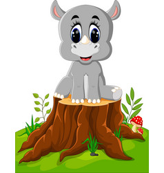 cartoon rhino sitting on tree stump vector image vector image