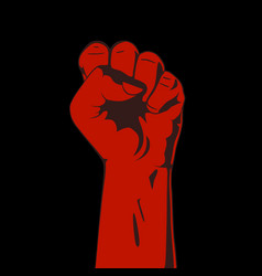 clenched fist red and black vector image
