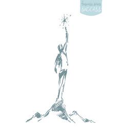 drawn sketch perso reaching star leadership vector image vector image