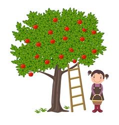 Girl picking apples vector