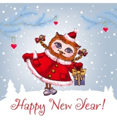 Happy New Year greeting card with cute owl in vector image vector image