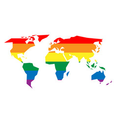 lgbt rainbow pride flag in a shape of world map vector image