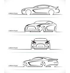 Set of sports car silhouettes vector image vector image