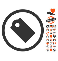 Tag icon with dating bonus vector