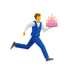 waiter in blue runs with a cake on a tray vector image vector image