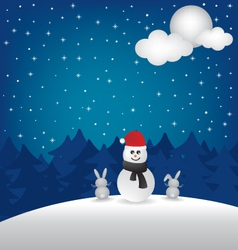 Winter night and snowman vector image