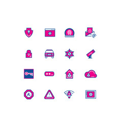 16 security color thin line icons for ui vector image