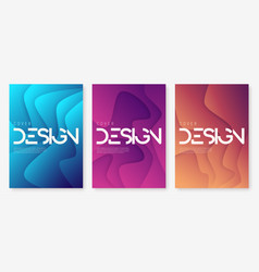 Abstract gradient geometric wavy cover designs vector