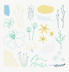 Aesthetic botanical leaves doodle element set vector