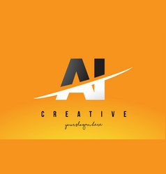 Ai a i letter modern logo design with yellow vector