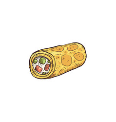 Appetizer or snack in shape roll flat vector