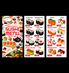 Asian sushi food japanese rolls price menu vector