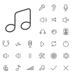 audio outline thin flat digital icon set vector image