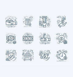 Banking business and finance flat icons set vector