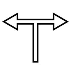 Bifurcation Arrow Left Right Outline Icon vector image