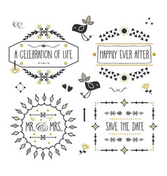 Black and golden wedding message banners set vector