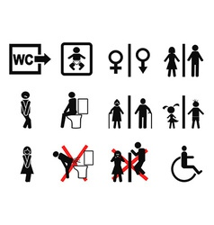 black bathroom symbol vector image