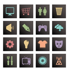 black media icons vector image vector image
