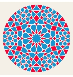 Blue Red Islamic Ornamental Rosette Circle vector image