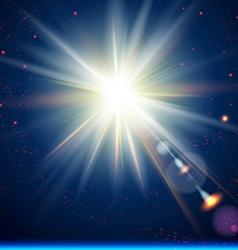 Bright sun burst Cosmic background vector image