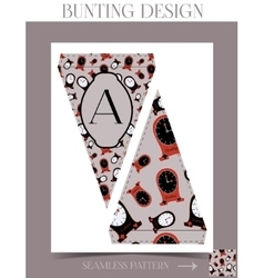 Bunting design - clocks from wonderland vector