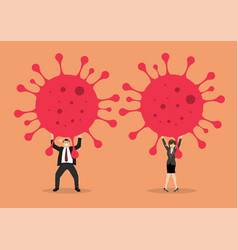 Businessman and woman struggling to carry virus vector