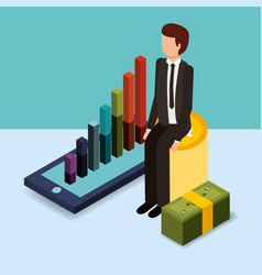 businessman sit on pile coins chart mobile vector image