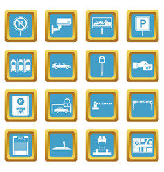 Car parking icons azure vector