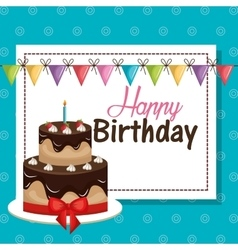 Card birthday and bunting flags graphic vector