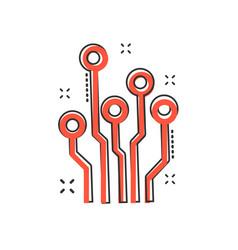 cartoon circuit board icon in comic style vector image