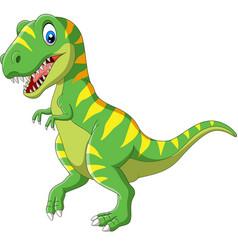 cartoon green dinosaur on white background vector image
