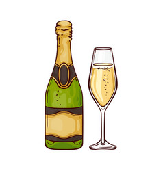 Champagne in close bottle vector