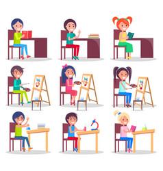 Children do homework isolated set vector