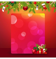 Christmas border with garland and banner vector