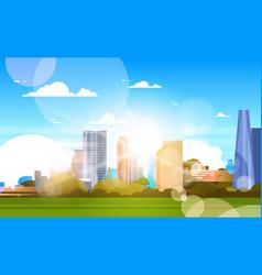 City in sunshine beautiful skyline with sunlight vector