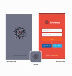Company skull splash screen and login page design vector