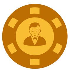 Croupier dealer gold casino chip vector