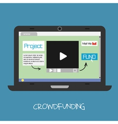 crowdfunding concept online fund project netwo vector image