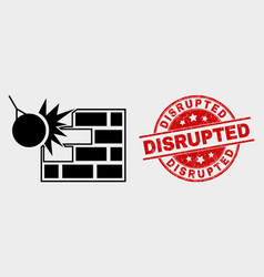Crush wall icon and distress disrupted vector