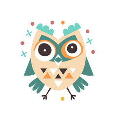 Cute cartoon dizziness owl bird colorful character vector