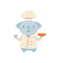 Cute koala bear in chef uniform holding delicious vector