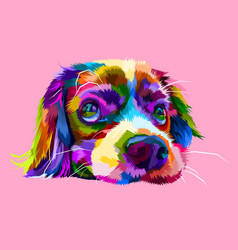 cute lazy dog heads in geometric pop art styles vector image