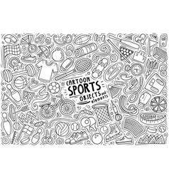Doodle cartoon set sports theme objects vector