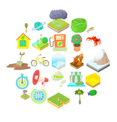 eco icons set cartoon style vector image