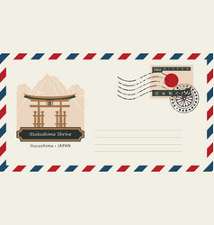 envelope with postage stamp and itsukushima shrine vector image