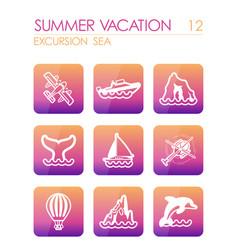 excursion sea icon set summer vacation vector image