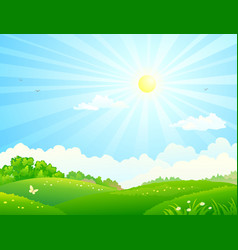 fields and sun vector image