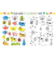 fingerprint game for kids fun educational vector image