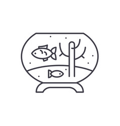 fish in the aquarium line icon concept fish in vector image